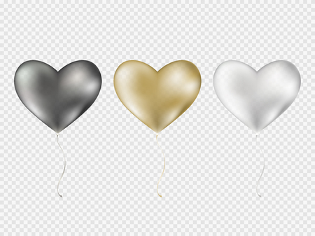 Balloons isolated on transparent background. Vector realistic translucent golden baloons mockup for anniversary, birthday party design. Glossy gold, silver, black festive 3d helium ballons