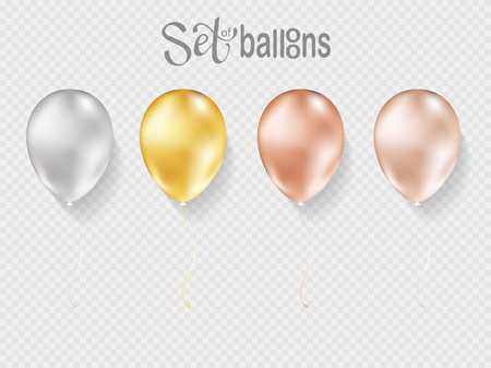 Balloons isolated on transparent background. Vector realistic helium golden rose, glossy gold and white birthday balloons.