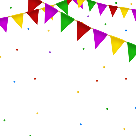Buntings garland with realistic flag. holiday background with confetti. Palce for text.
