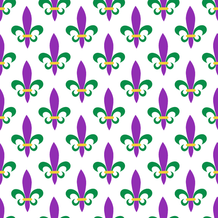 Seamless pattern for Mardi Gras. Fleur de lis. Green, purple, yellow background for celebrations. perfect for wallpaper, pattern fill, web page background, textile, holiday, greeting card Illustration