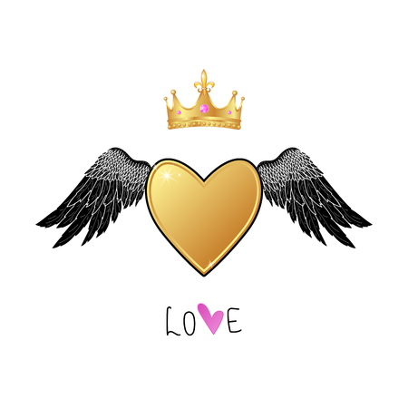 Shiny gold heart with angel wings and  realistic crown, love lettering slogan. vector Ilustrace