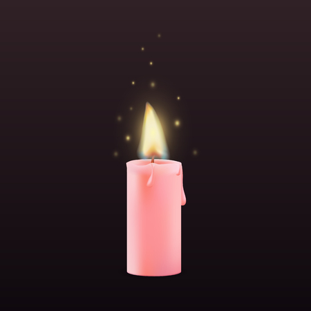 Vector 3d realistic wax pink candle, candle burn isolated dark background. Wax, fire, celebration, candlelight dinner, Christmas candle, religious attribute.