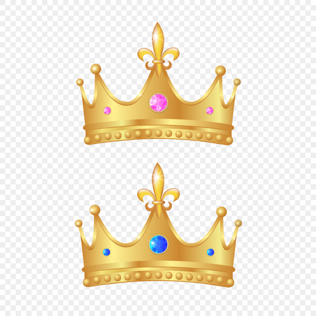 Two golden crown 3d royal queen monarch king emperor tsar symbol realistic vector luxury VIP jewelry ruby, sapphire. Success, authority business leadership emblem Иллюстрация