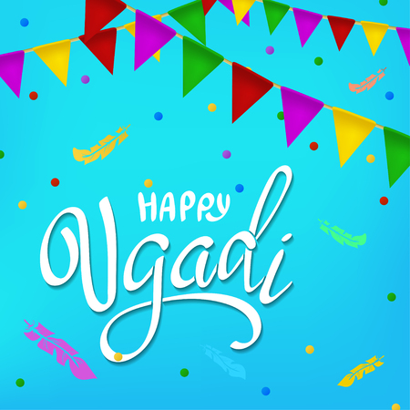 Happy Ugadi lettering. Greeting card. Gudi Padwa Hindu new year. Illustration