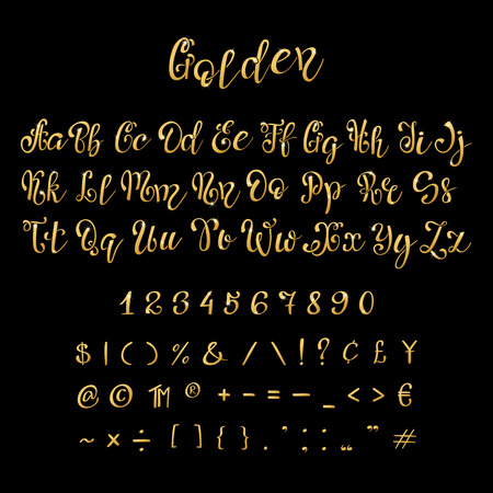 Calligraphic golden letters and numbers. Luxury elegant gold vector font script. Golden alphabet calligraphic, calligraphy abc gold script illustration. Lettering.