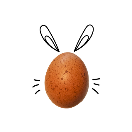 Easter egg with cartoon doodle drawing bunny ears. Flat lay. Creative minimalistic food concept. Stock Photo