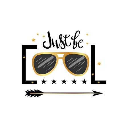 Sei bloss locker. Typografie-Slogan-Druck mit Sonnenbrillen-Illustration mit Schriftzug