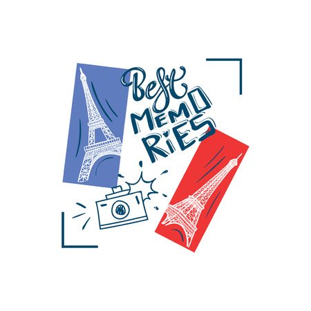 Best memories. typography slogan print with Eiffel Tower and photo camera illustration with lettering