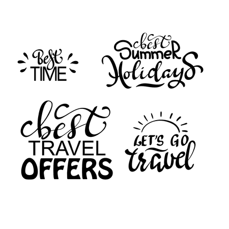Travel life style inspiration quotes lettering. Motivational typography. Calligraphy graphic design element. Иллюстрация