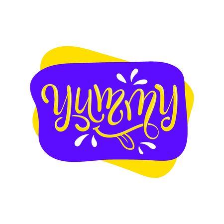 Yum. Yummy word. Vector lettering. Printable graphic tee. Vector Illustratie