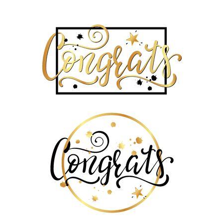 Congrats. Congratulations card. Hand lettering. Handwritten phrase. Ilustracja