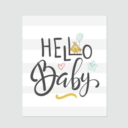 Hello baby. Baby shower vector card designs.  イラスト・ベクター素材