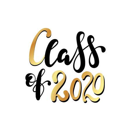Classe de 2020. Lettrage au pinceau noir dessiné à la main. Vecteurs