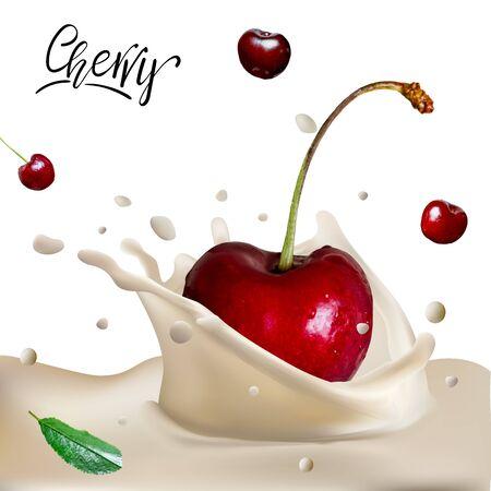 Sweet Cherry Yogurt Splash. Cherry flopping down in to the cream yogurt. Close-up milk or cheese dessert with cherries..