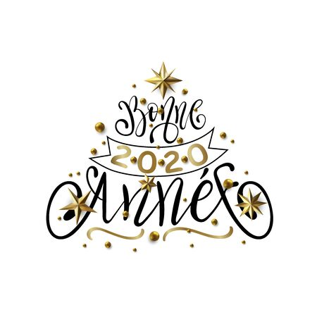 Bonne Annee - Happy New Year in French greeting card with typographic design Lettering. Calligraphic Inscription Decorated with Golden Stars and Beads. Çizim