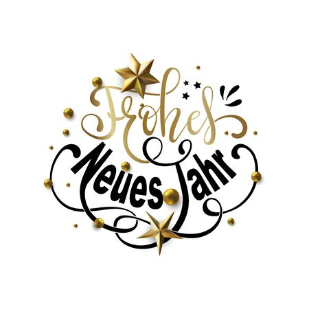 Frohes Neues Jahr - Happy New Year in German greeting card with typographic design Lettering 向量圖像