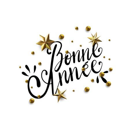 Bonne Annee - Happy New Year in French greeting card with typographic design Lettering