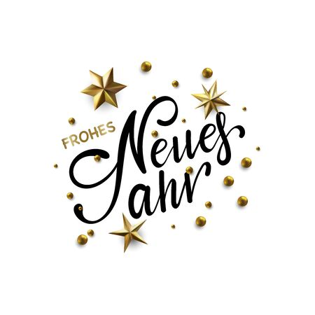 Frohes Neues Jahr - Happy New Year in German greeting card with typographic design Lettering Illustration