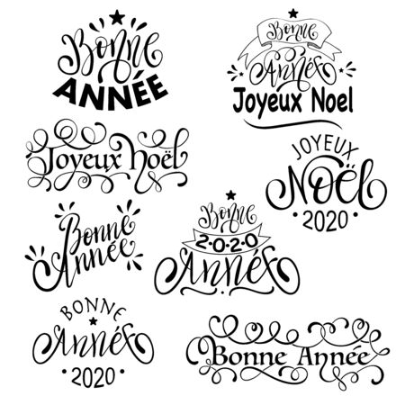 Joyeux Noel and Bonne Annee - French Merry Christmas and Happy New Year Set of Calligraphic Inscription Çizim