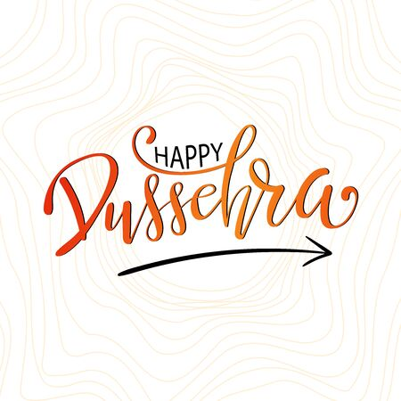 Happy Dussehra lettering. Dussehra Calligraphy Poster Design. Poster Or Banner For Indian Festival Of Dussehra.