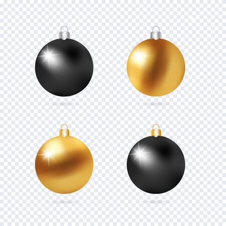 Realistic 3d Black and Gold Christmas Ball Fir Toys star shape golden silver sparkle. New Year tree decoration gold handling. Isolated on transparent grid design element