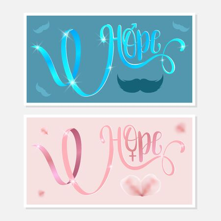 Hope. Awareness Calligraphy Poster Design. Realistic Light Blue and Pink Ribbon. Vector Illustration