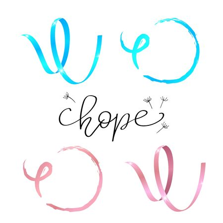 Hope lettering. Awareness Calligraphy Poster Design. Awareness symbol- watercolor and Realistic Light Blue and Pink Ribbon. Vector Illustration 向量圖像