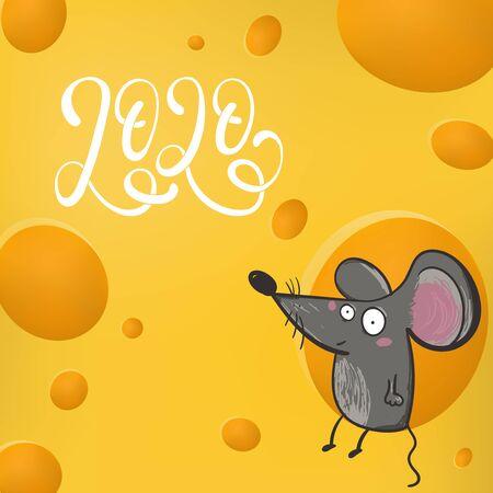 Cute rat mouse live in cheese home cute creativity abstract background. Vektoros illusztráció