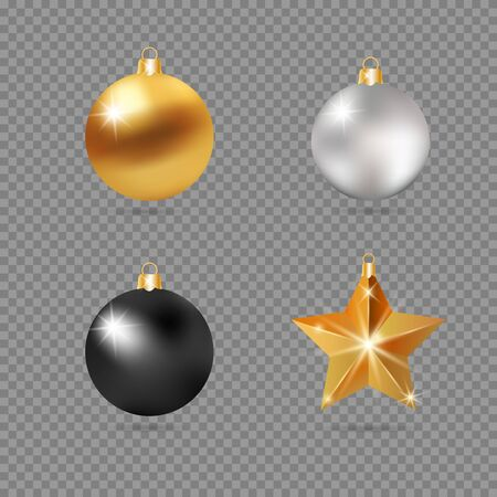 Realistic 3d Black, Silver and Gold Christmas Ball Fir Toys star shape golden silver sparkle. New Year tree decoration gold handling. Isolated on transparent grid design element