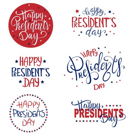 Happy Presidents Day lettering set with 3D realistic stars. Ilustrace
