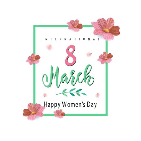 International Womens Day Banner with lettering. Flyer for March 8 with the decor of flowers. Stock Illustratie