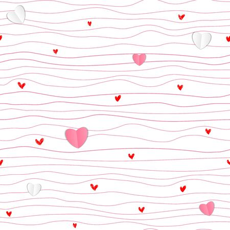Pattern for Valentines Day simple line seamless design with paper hearts