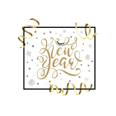 Happy New Year hand written lettering with golden Christmas stars and Gold Serpentine. Happy New Year card design. Greeting card, invitation with happy New year 2020 and Christmas. Ilustrace