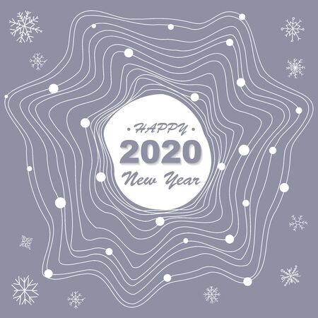 Cute Festive background with Happy 2020 New Year text. Vector Holiday pattern. Seasonal festive banner concept. Greeting card or party invitation template