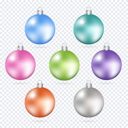 Colorful christmas balls. Set of isolated 3d realistic decorations. Vector illustration.