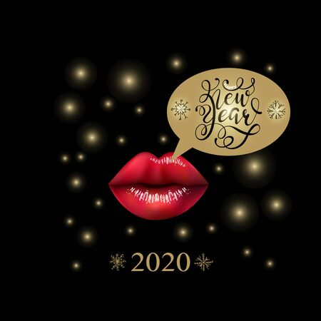 Creative New Year 2020 Greeting Poster design with beautiful full realistic 3d lips and Lettering for Holiday, Xmas, New Year. Design for cards, prints, invitations.