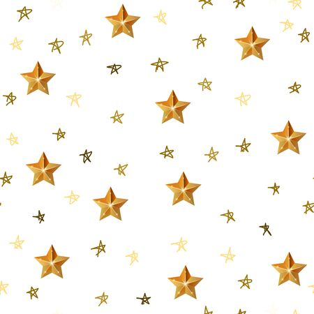 Cute festive background with gold stars. Christmas star. Holiday seamless pattern. Ornament for gift wrapping paper, fabric, clothes, textile, surface textures, scrapbook. Ilustração