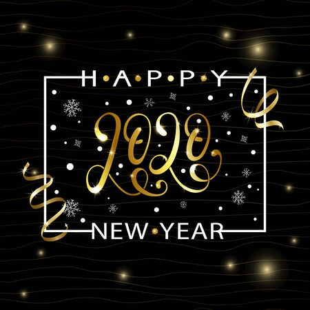 2020 hand written lettering with golden Christmas stars. Happy New Year card design. Greeting card, invitation with happy New year 2020 and Christmas.