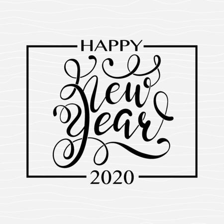 Happy New Year Black hand written lettering on grey seamless background. Happy New Year card design. Greeting card, invitation with happy New year 2020 and Christmas. Ilustração