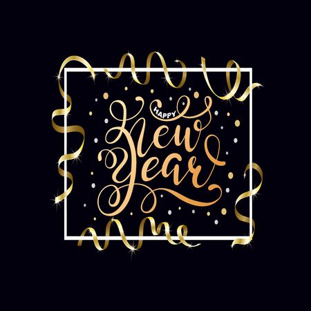 Happy New Year hand written lettering with golden Christmas stars and Gold Serpentine Standard-Bild - 142334788