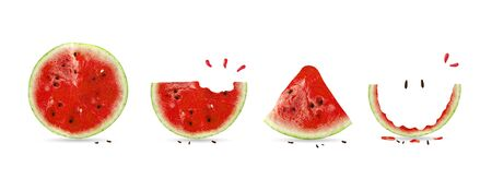 Creative layout made of cute Watermelon. Watermelon card. Flat lay, top view, copy space, square. Food and summer concept.
