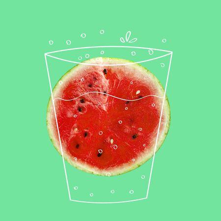 Creative idea layout fresh Watermelon slice. Minimal idea business creative concept. Fruit idea creative to produce work within an Advertising Marketing Communications