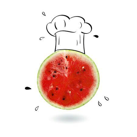 Creative idea layout fresh Watermelon slice alarm clock on white background. Minimal idea business creative concept. Advertising Marketing Communications