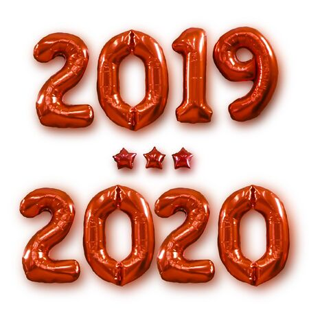 Christmas New Year 2020 Red Numbers Balloons. Celebration, Holiday. Figure 2019-2020 made of balloons on white background