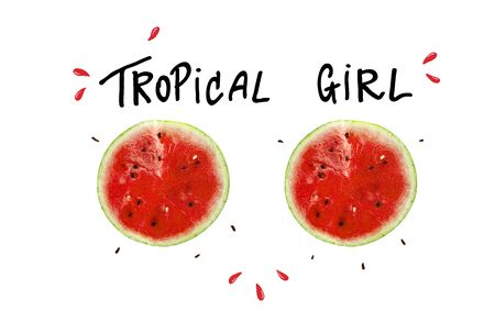 Tropical girl slogan, watermelon and lettering, t-shirt graphic, tee print design. For t-shirt or other uses, T-shirt graphics textile graphic