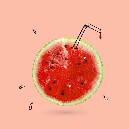 Creative idea layout fresh Watermelon slice. Minimal idea business creative concept. Fruit idea creative to produce work within an Advertising Marketing Communications Reklamní fotografie