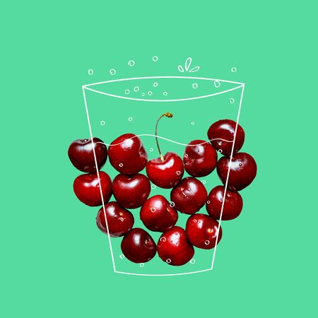Fruit composition with fresh cherry and cartoon doodle drawing glass or liquid splash on green background. Creative minimalistic food and drink concept.