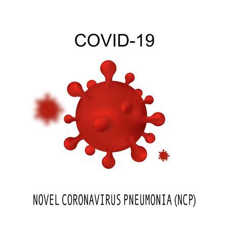 Novel Coronavirus 2019-nCoV. Virus Covid 19 - NCP, RNA virus. Background with realistic 3d red virus cells Ilustração