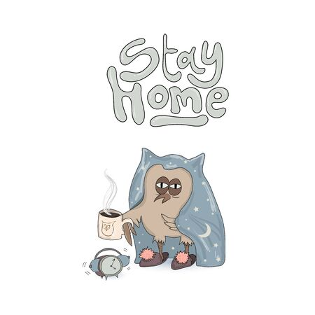 Stay Home poster. slogan lettering print with cute owl. vector Ilustração