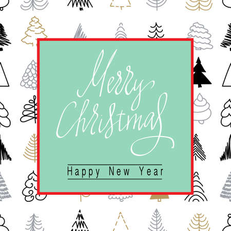 Christmas and New Year banner, lettering poster.